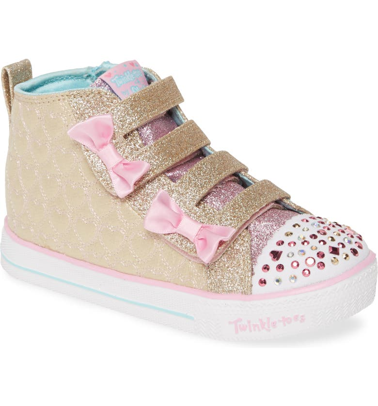 SKECHERS Twinkle Toes Shuffle Lite Glitter Light-Up High Top Sneaker, Main, color, GOLD/ PINK