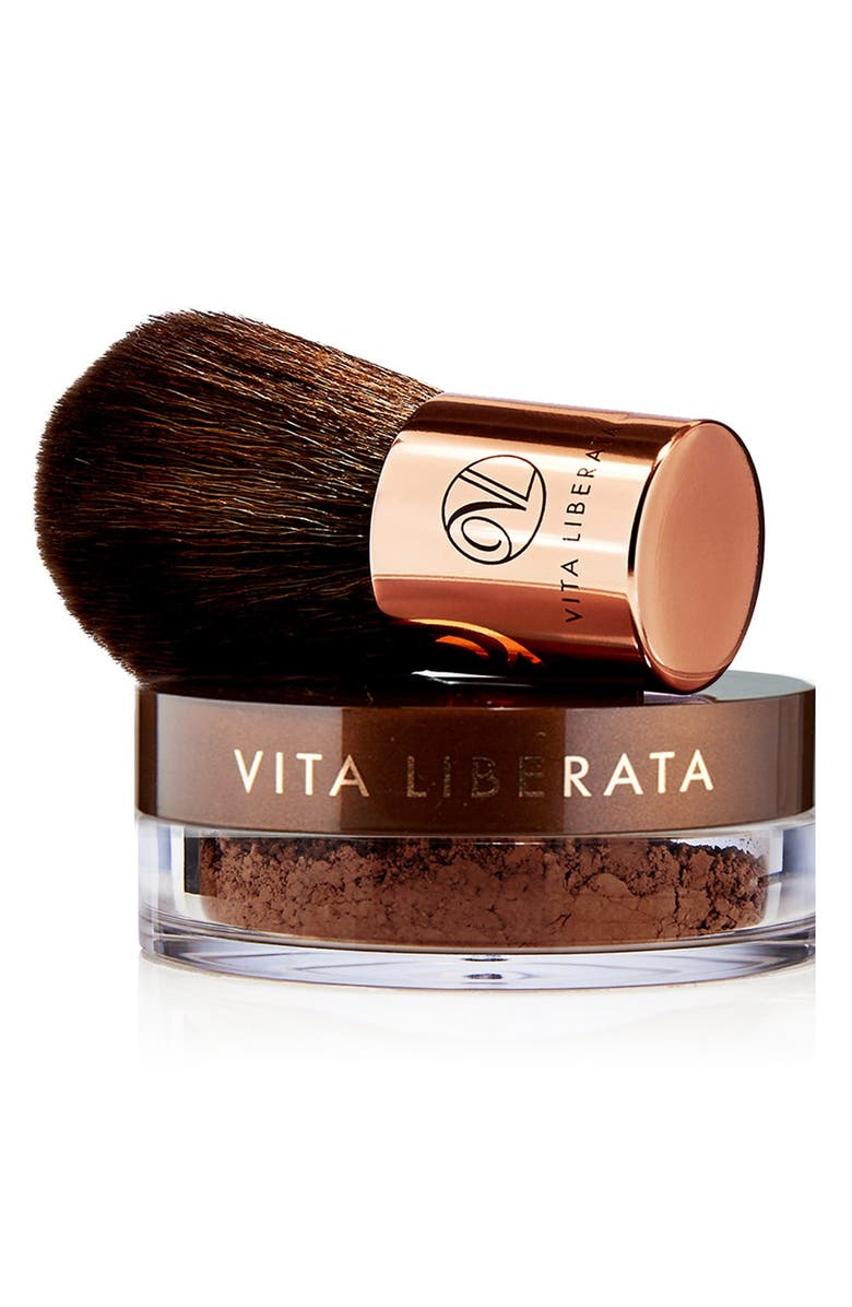 VITA LIBERATA Trystal<sup>™</sup> Minerals Bronze Self Tanning Bronzing Minerals & Kabuki Brush, Main, color, NO COLOR