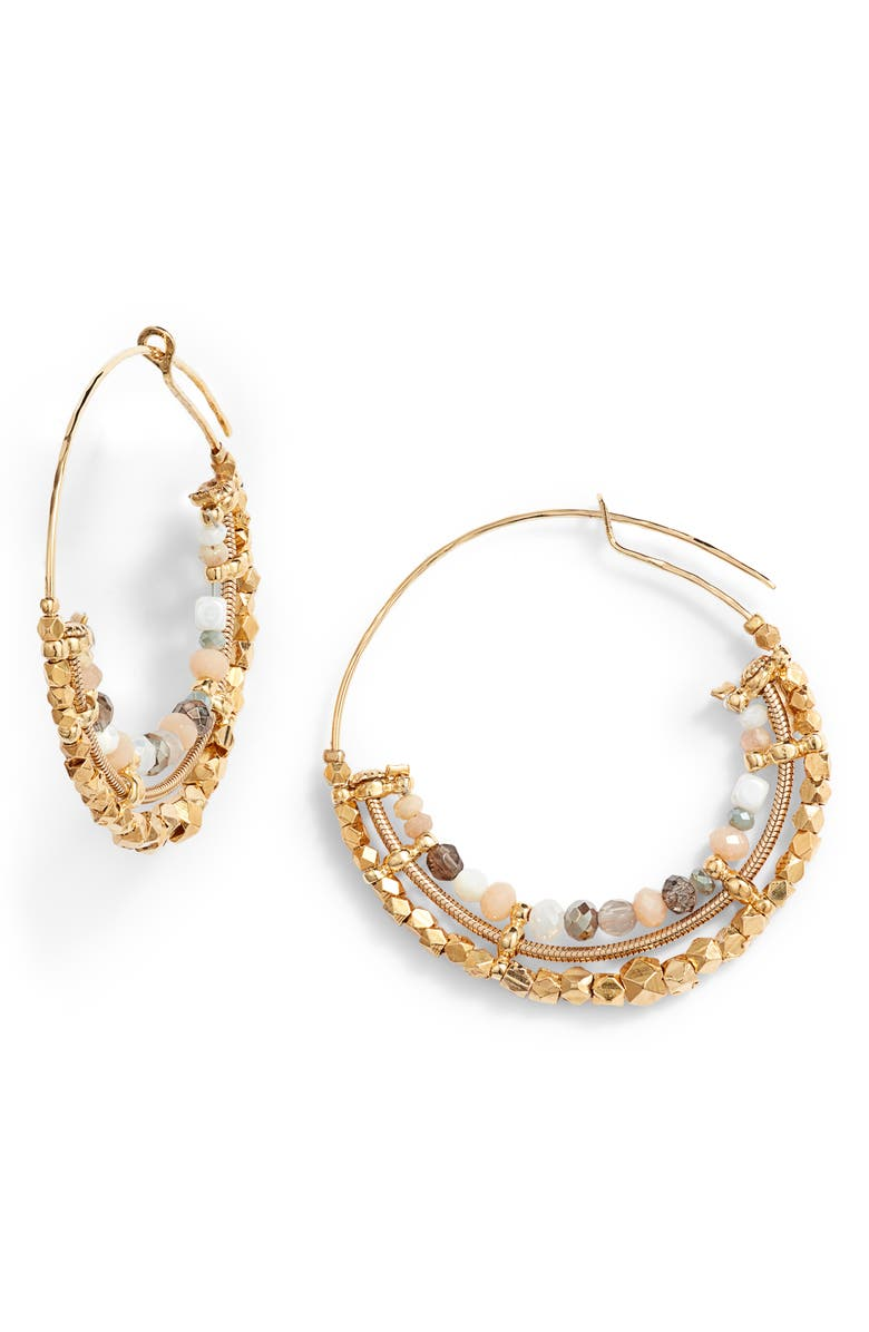 GAS BIJOUX Comedia Beaded Hoop Earrings, Main, color, 100