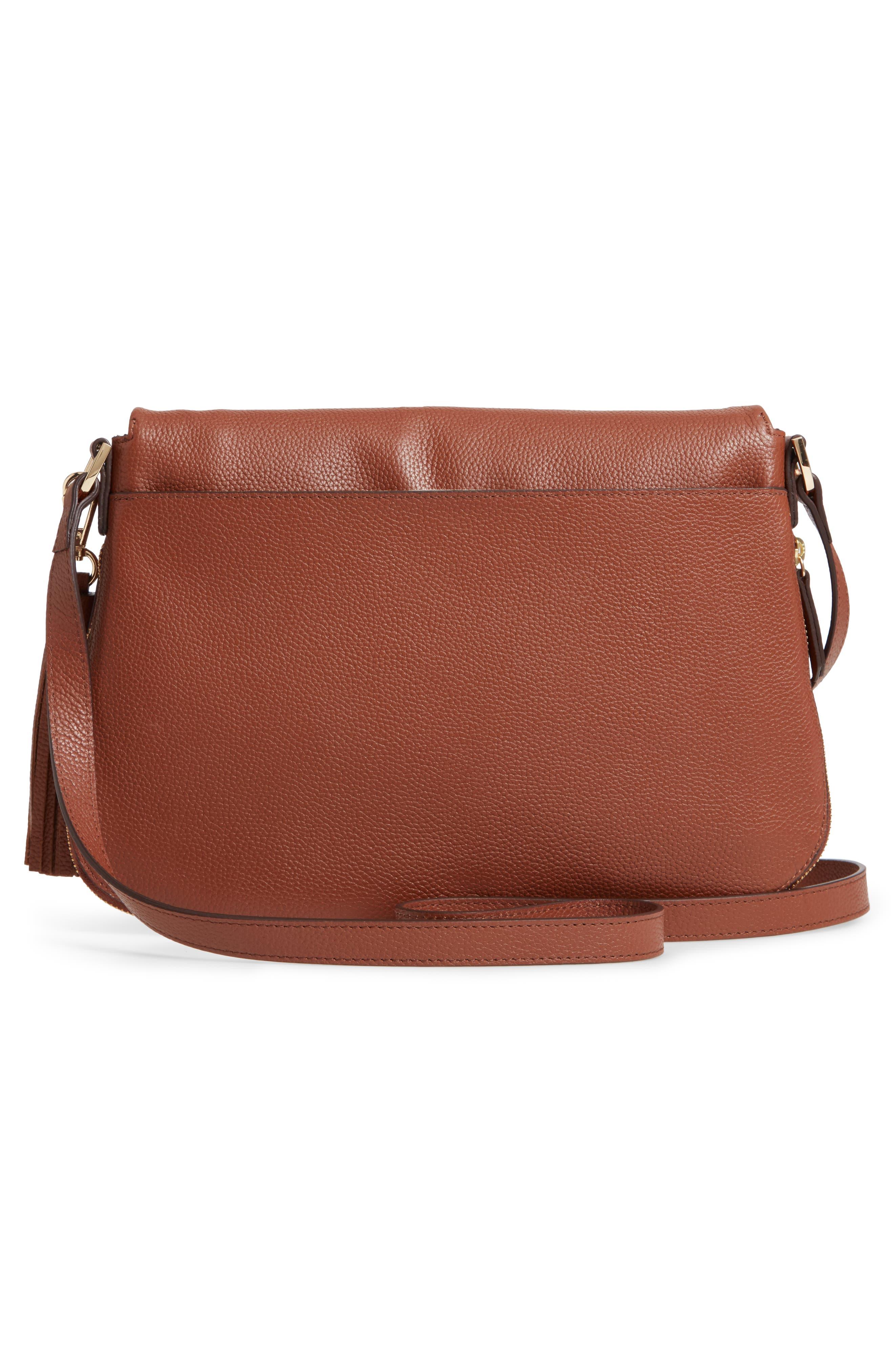 ,                             Kara Leather Expandable Crossbody Bag,                             Alternate thumbnail 4, color,                             BROWN AZTEC