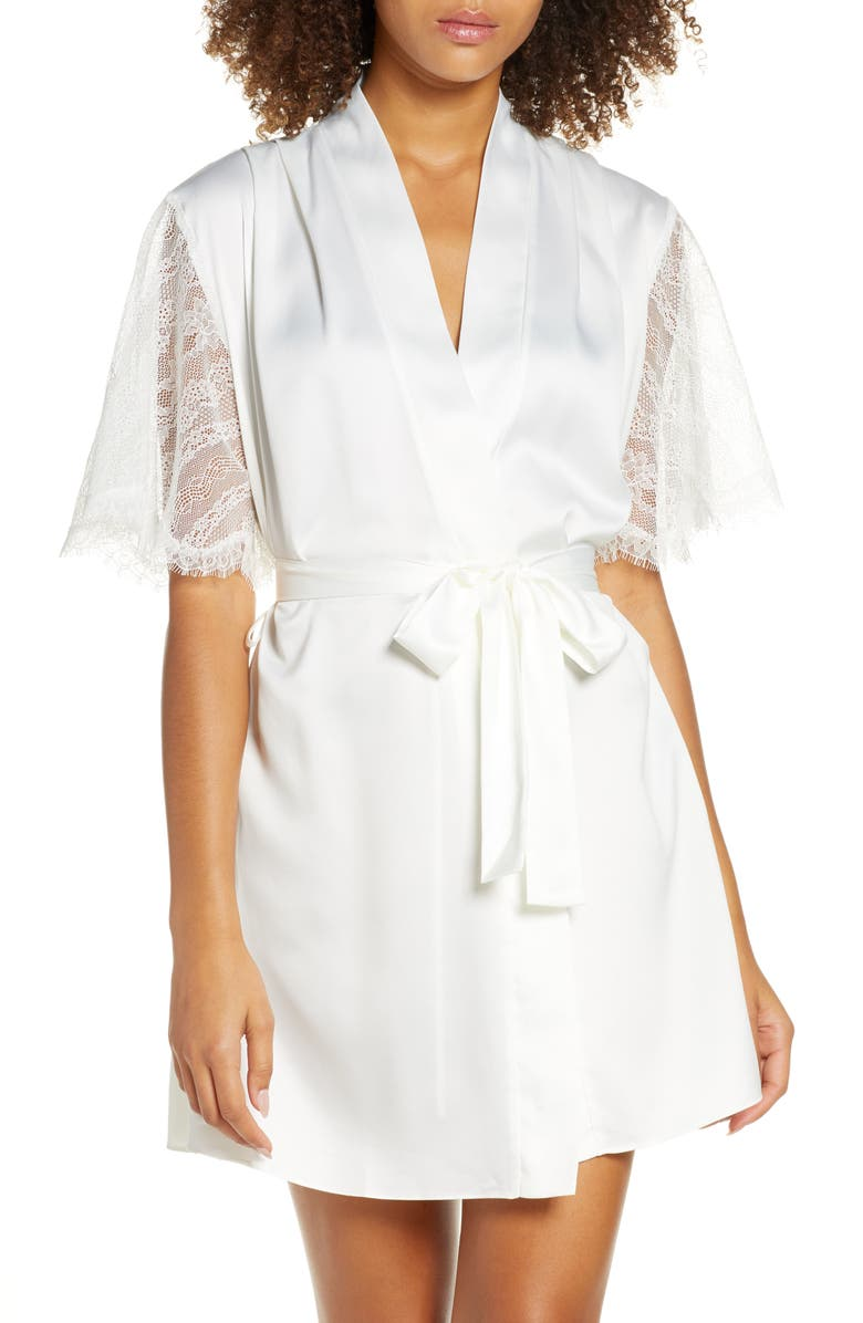 RYA COLLECTION Graceful Charmeuse & Lace Wrap, Main, color, IVORY
