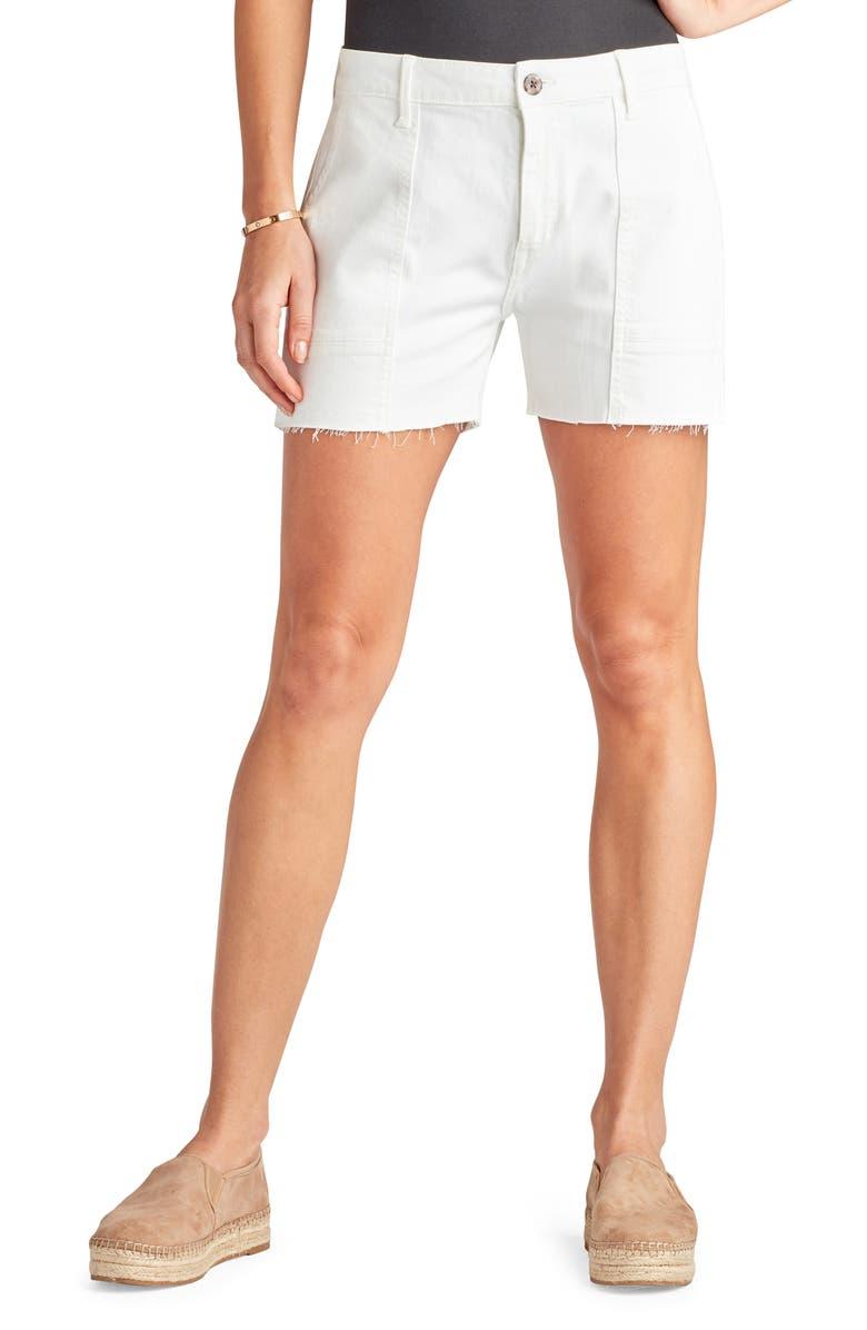 SAM EDELMAN The Cargo Cotton Blend Utility Shorts, Main, color, OPTIC WHITE