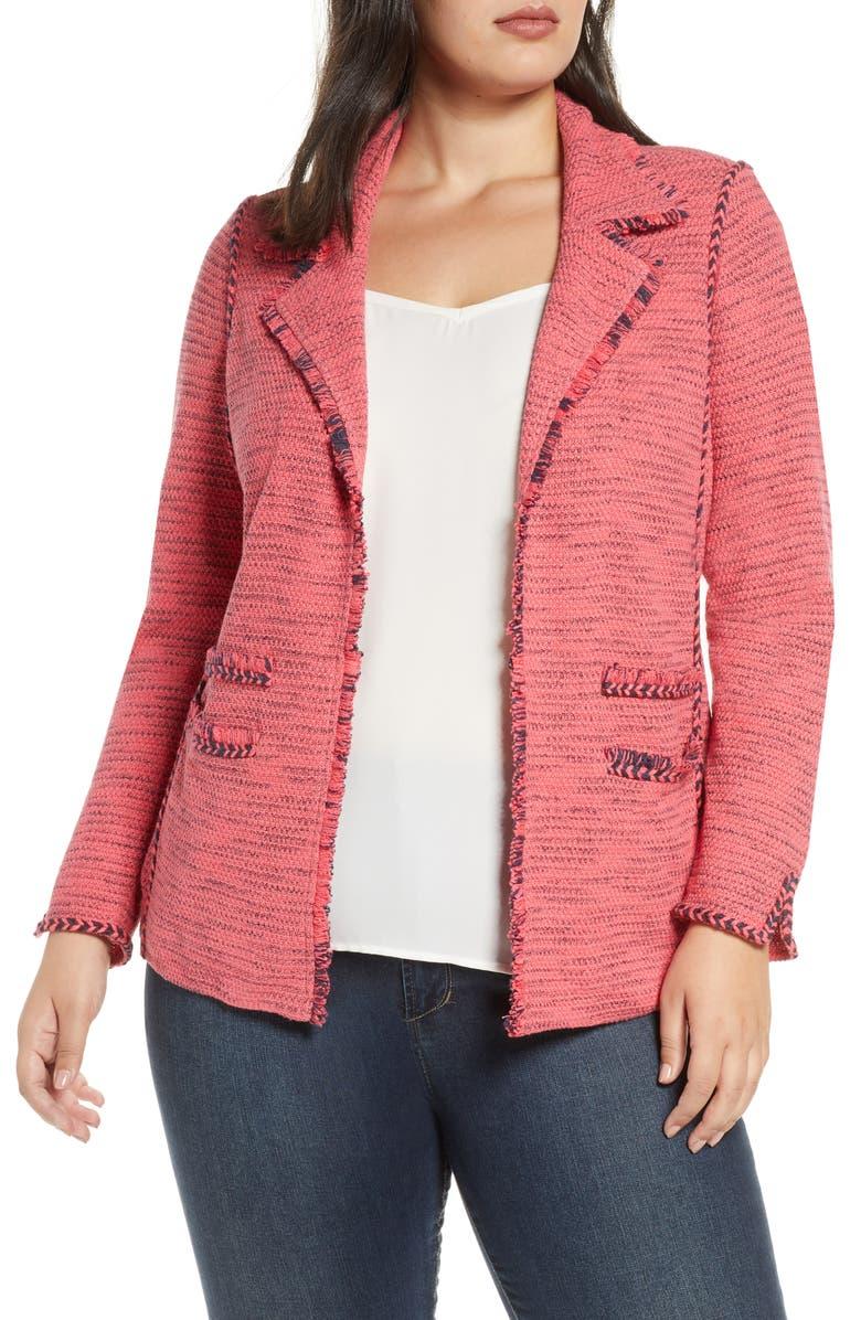 NIC+ZOE Suite Knit Linen Blend Blazer, Main, color, GERANIUM