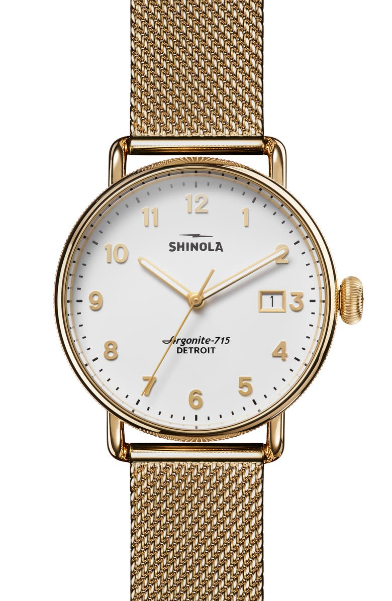 SHINOLA The Canfield Mesh Strap Watch, 38mm, Main, color, GOLD/ WHITE/ GOLD
