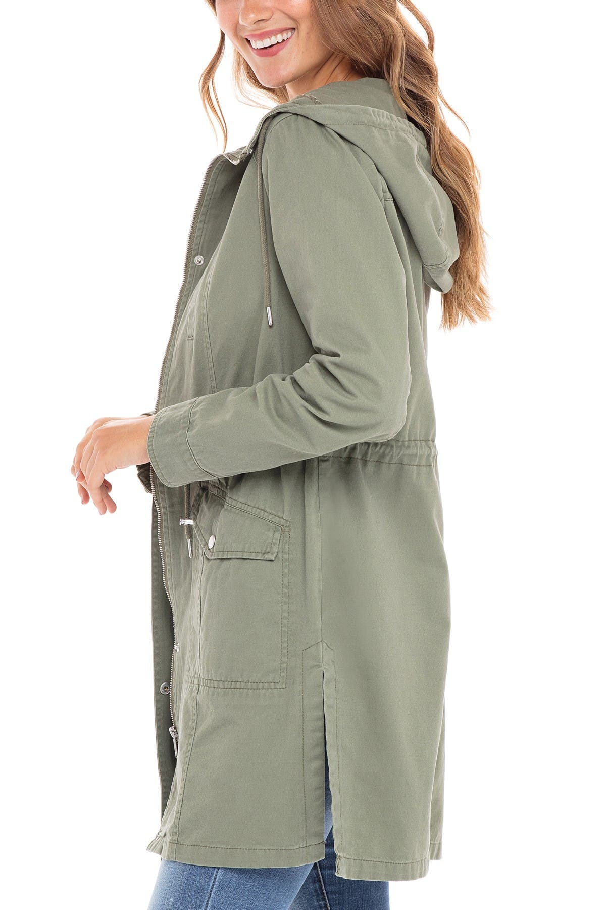 Sebby Mid Length Twill Utility Jacket