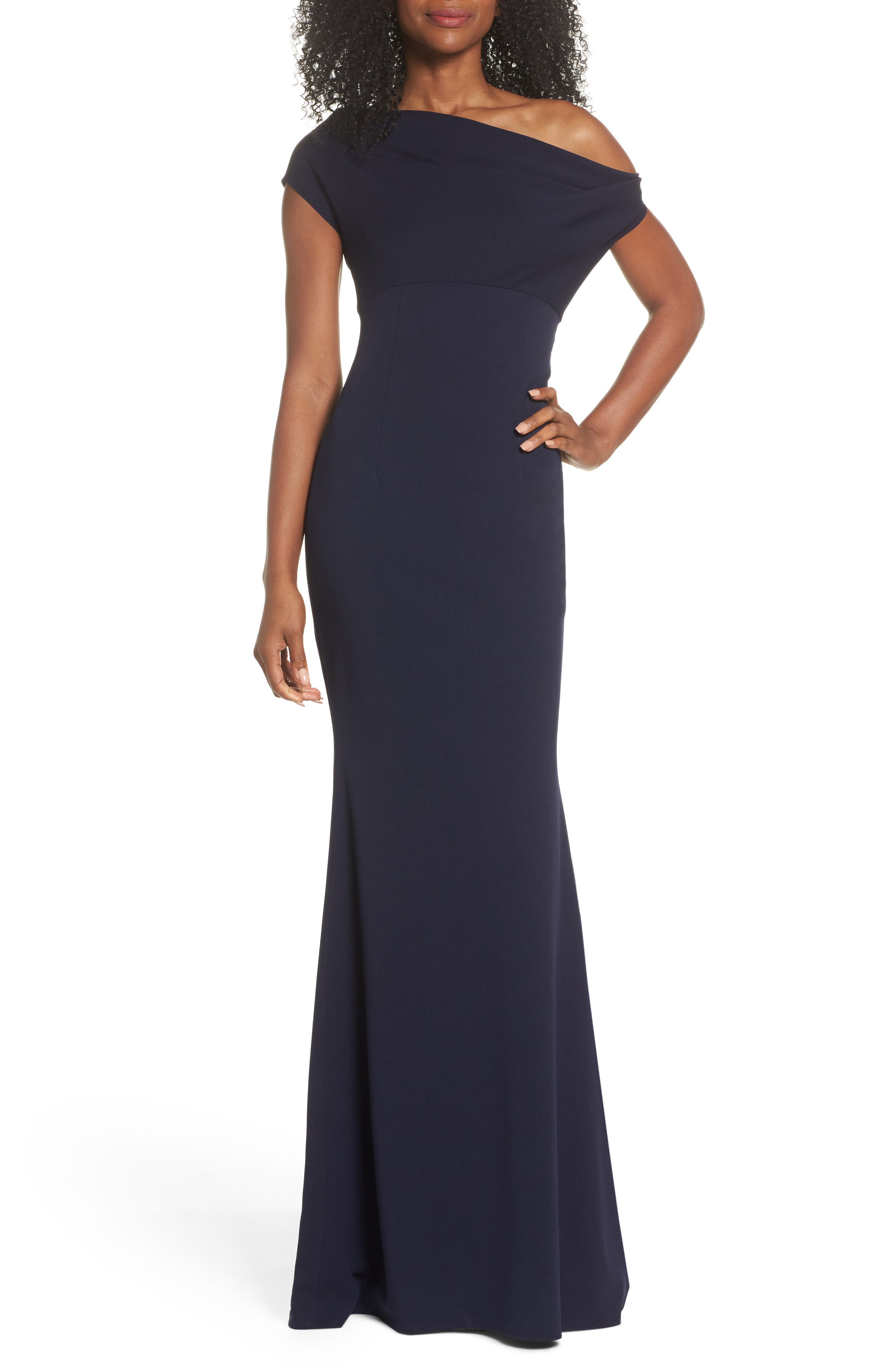 Katie May Hannah One-Shoulder Crepe Trumpet Gown, Blue