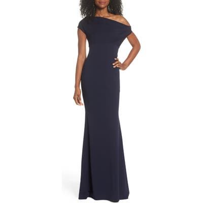 Katie May Hannah Off The Shoulder Crepe Trumpet Gown, Blue