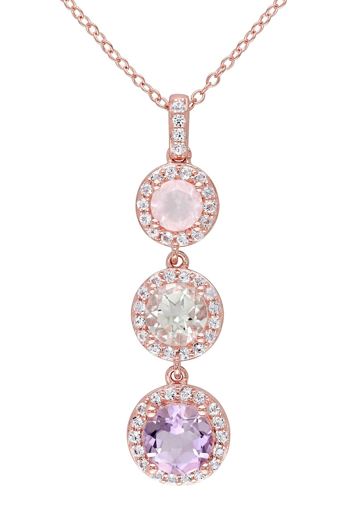 Image of Delmar Rose Quartz, Green Amethyst, & Rose de France Triple Drop Pendant Necklace