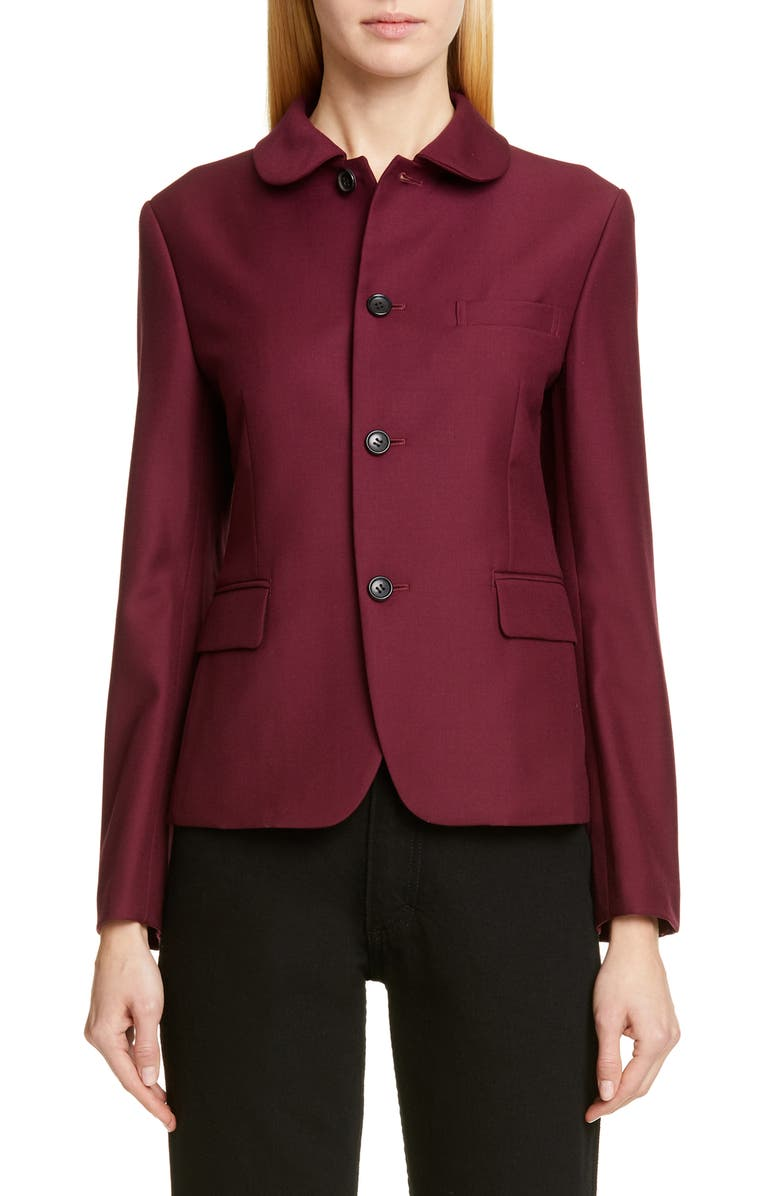 COMME DES GARÇONS Shiny Single Breasted Wool Jacket, Main, color, 600
