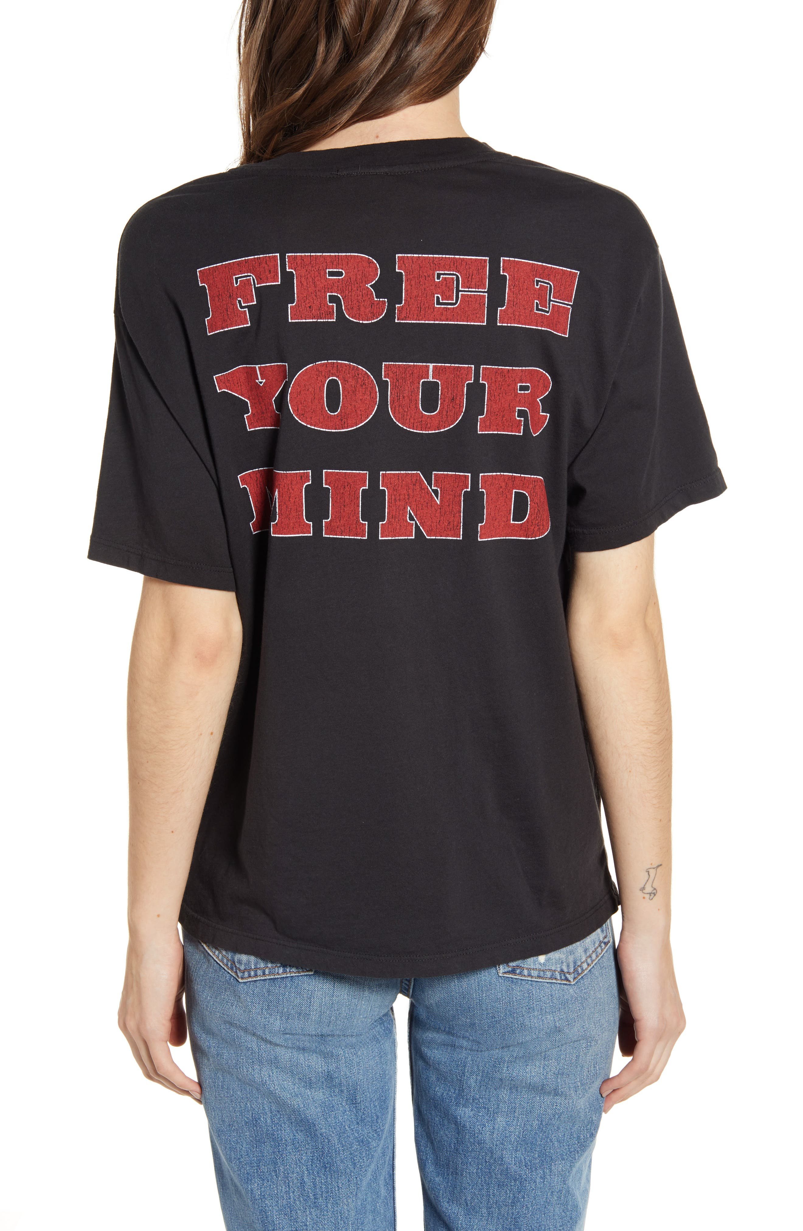 ,                             Born Free Graphic Boyfriend Cotton Tee,                             Alternate thumbnail 2, color,                             ASH BLACK