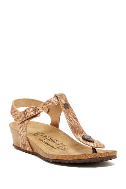 Image of Birkenstock Papillio By Birkenstock Ashley T-Strap Wedge Embossed Sandal - Narrow Width - Discontinued