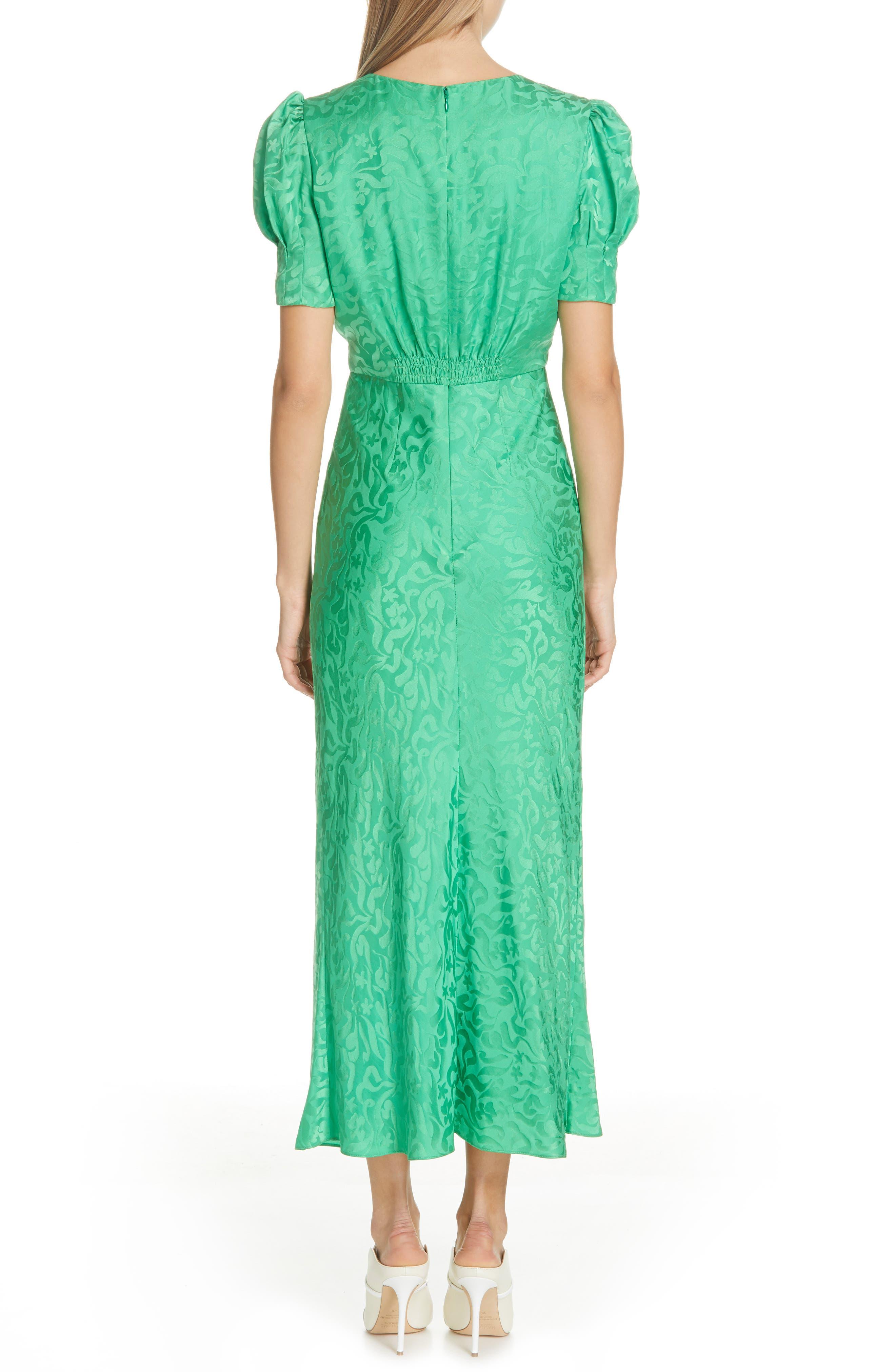 ,                             Bianca Puff Sleeve Silk Midi Dress,                             Alternate thumbnail 2, color,                             LEAF GREEN