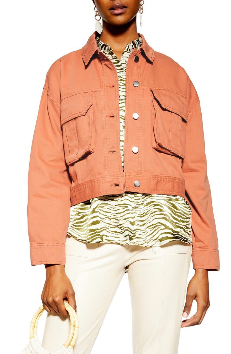 TOPSHOP Avril Shirt Jacket, Main, color, BLUSH
