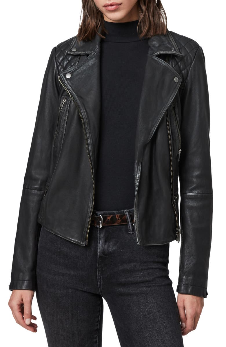 ALLSAINTS Cargo Leather Biker Jacket, Main, color, 006