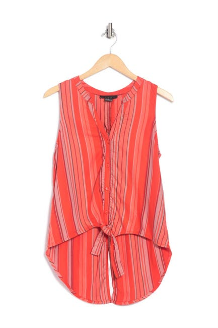 Image of Sanctuary Sleeveless Stripe Tie Front Woven Top