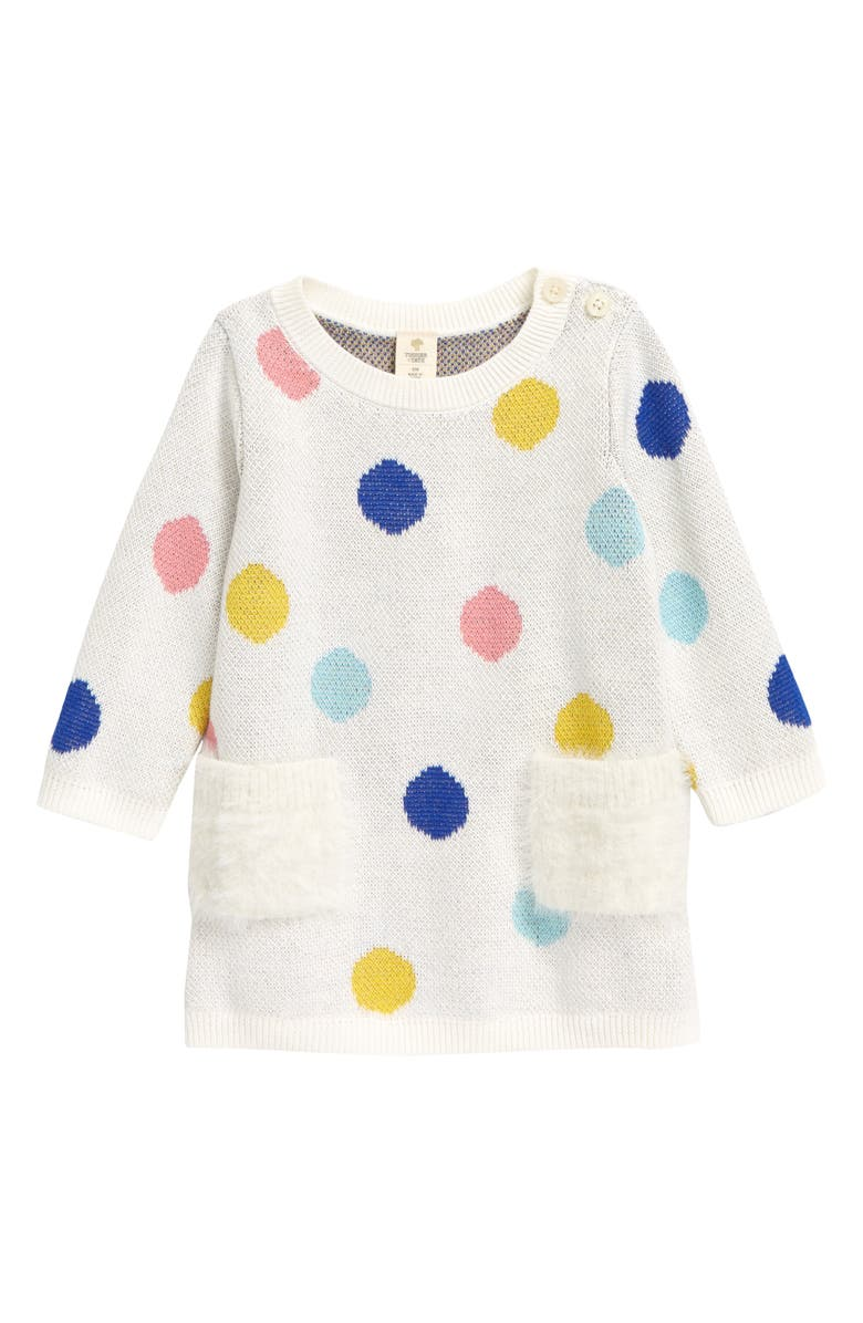 TUCKER + TATE Fuzzy Pocket Sweater Dress, Main, color, IVORY EGRET MULTI DOTS
