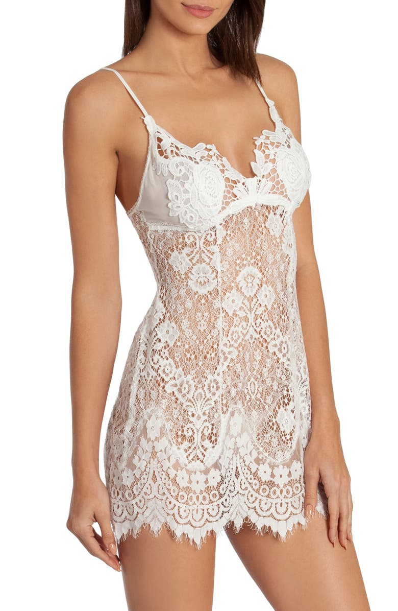 IN BLOOM BY JONQUIL Sheer Lace Chemise, Main, color, IVORY
