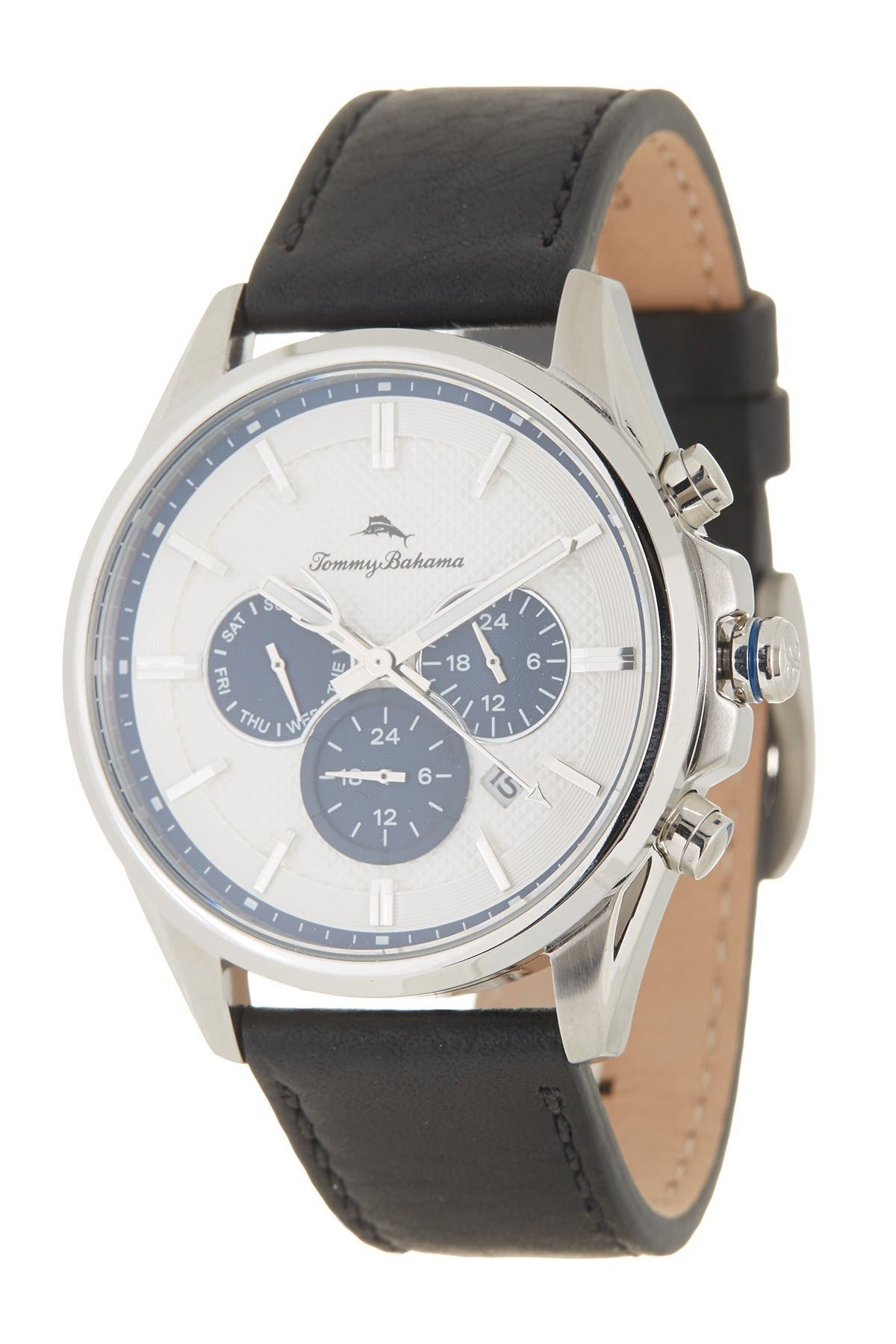 Image of Tommy Bahama Men's Nantucket Bay Chronograph Leather Strap Watch, 43mm