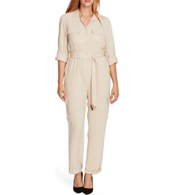 Vince Camuto Roll Tab Rumpled Twill Cargo Jumpsuit, Beige