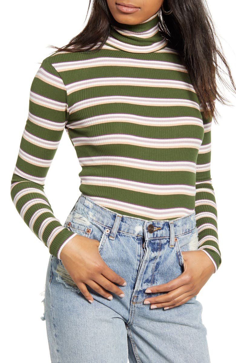 BDG URBAN OUTFITTERS Stripe Turtleneck Top, Main, color, 300