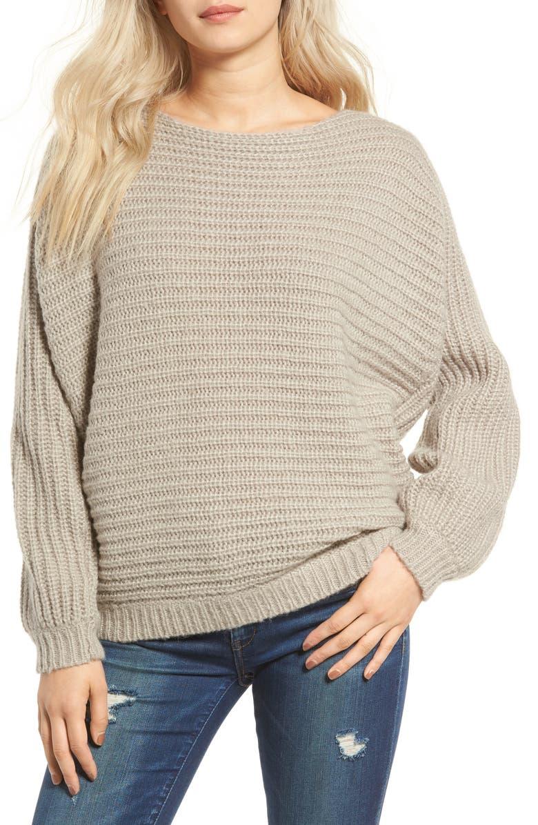 GLAMOROUS Open Back Boyfriend Sweater, Main, color, 060