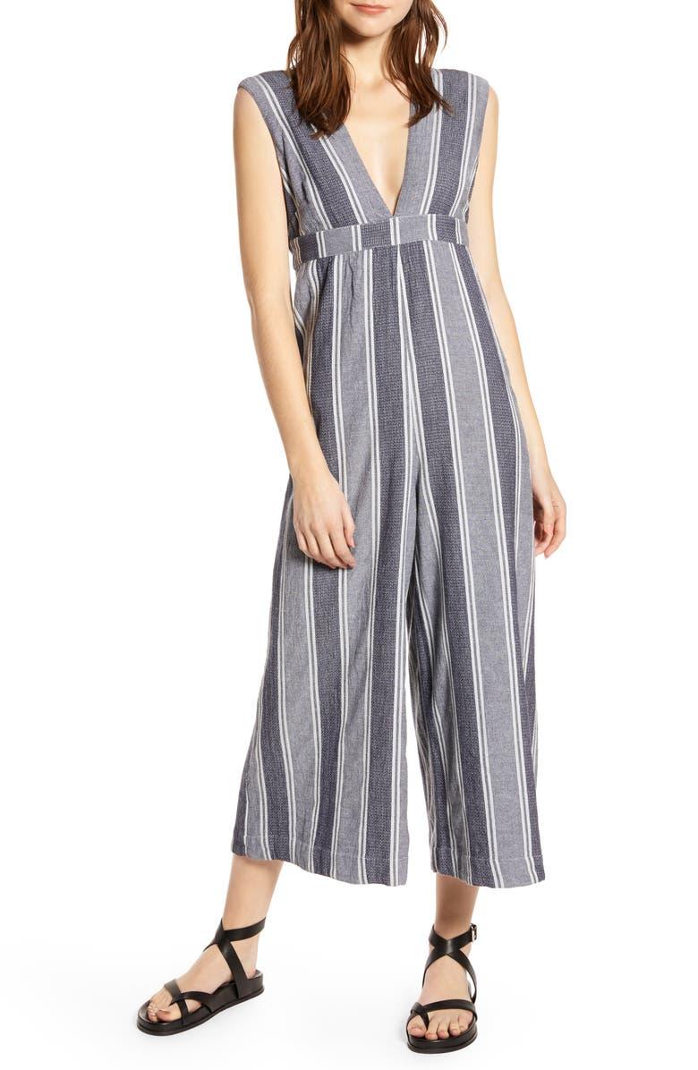 THE ODELLS Paloma Stripe Plunge Neck Jumpsuit