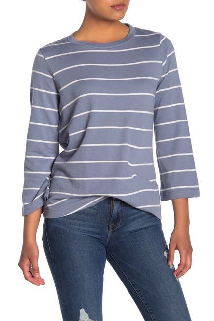 Image of MELLODAY Striped Twist Hem Pullover