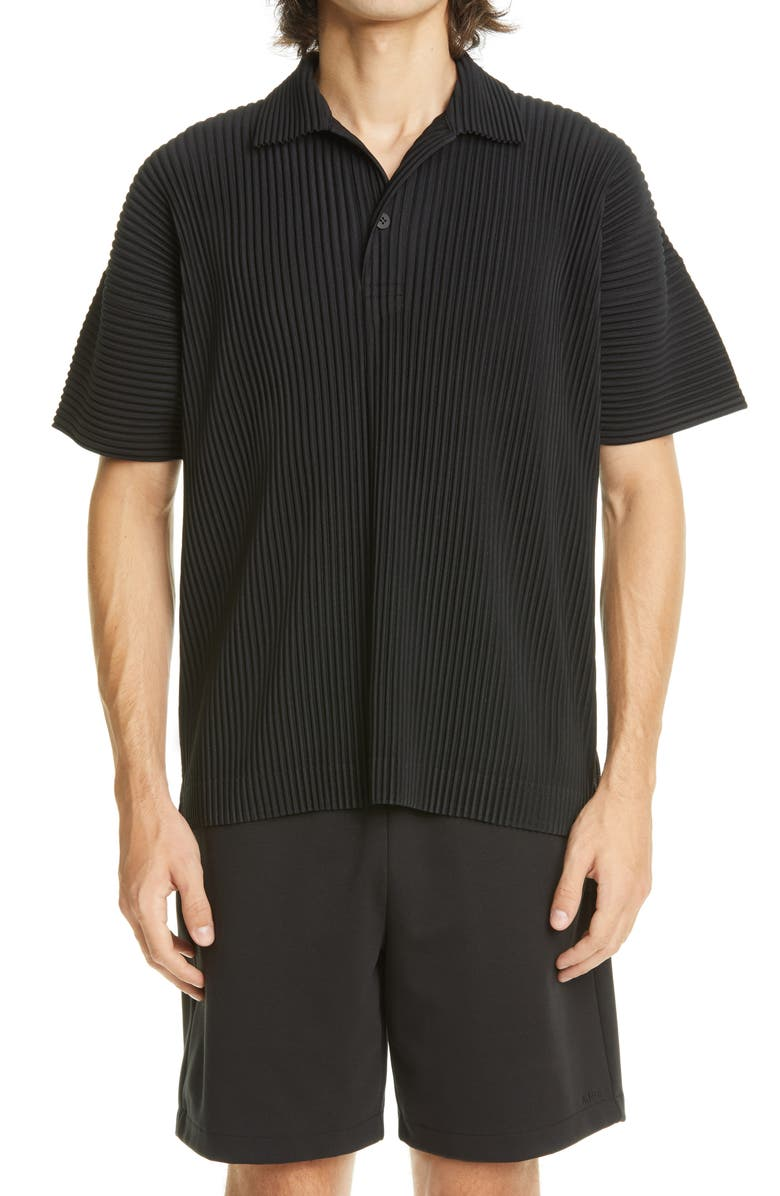 HOMME PLISSÉ ISSEY MIYAKE May Pleated Polo Shirt, Main, color, 15 BLACK