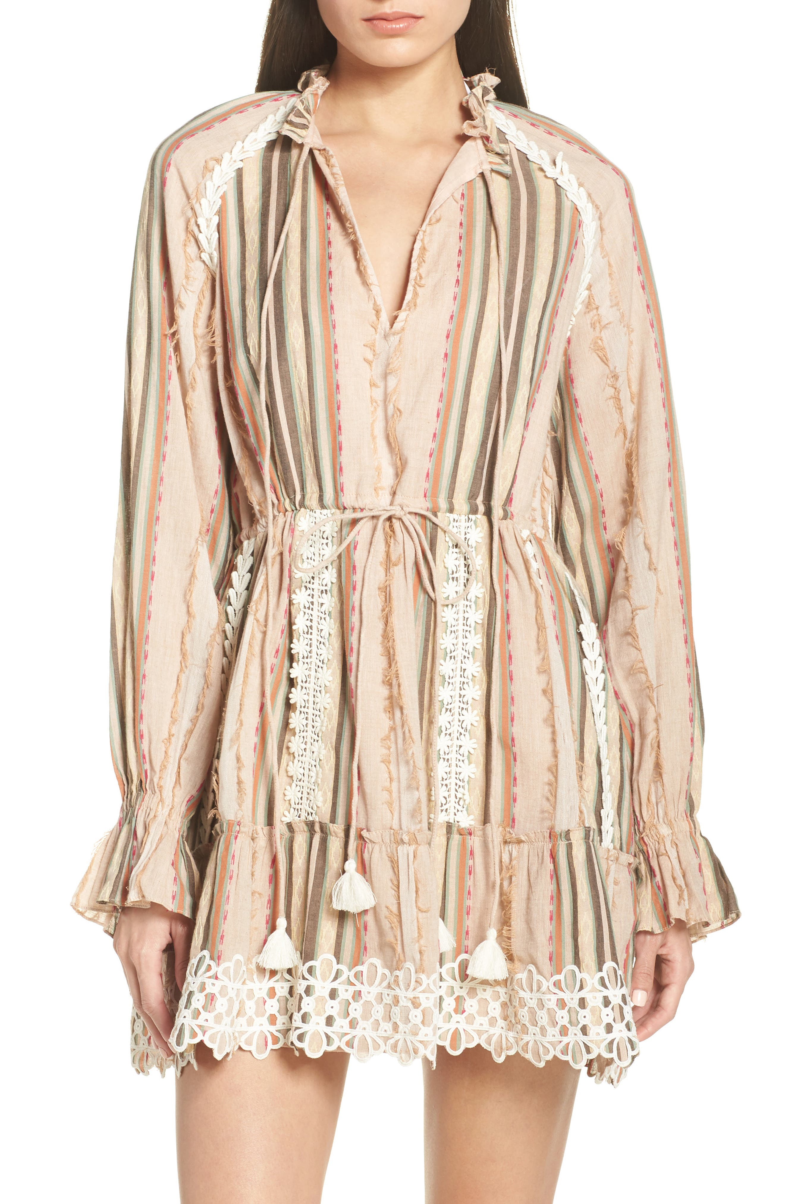 Hemant & Nandita Tassel Cover-Up Minidress, Beige
