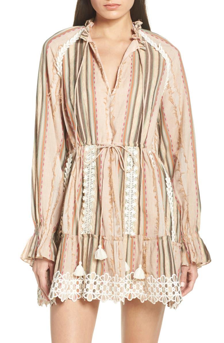 HEMANT & NANDITA Tassel Cover-Up Minidress, Main, color, PIXIE