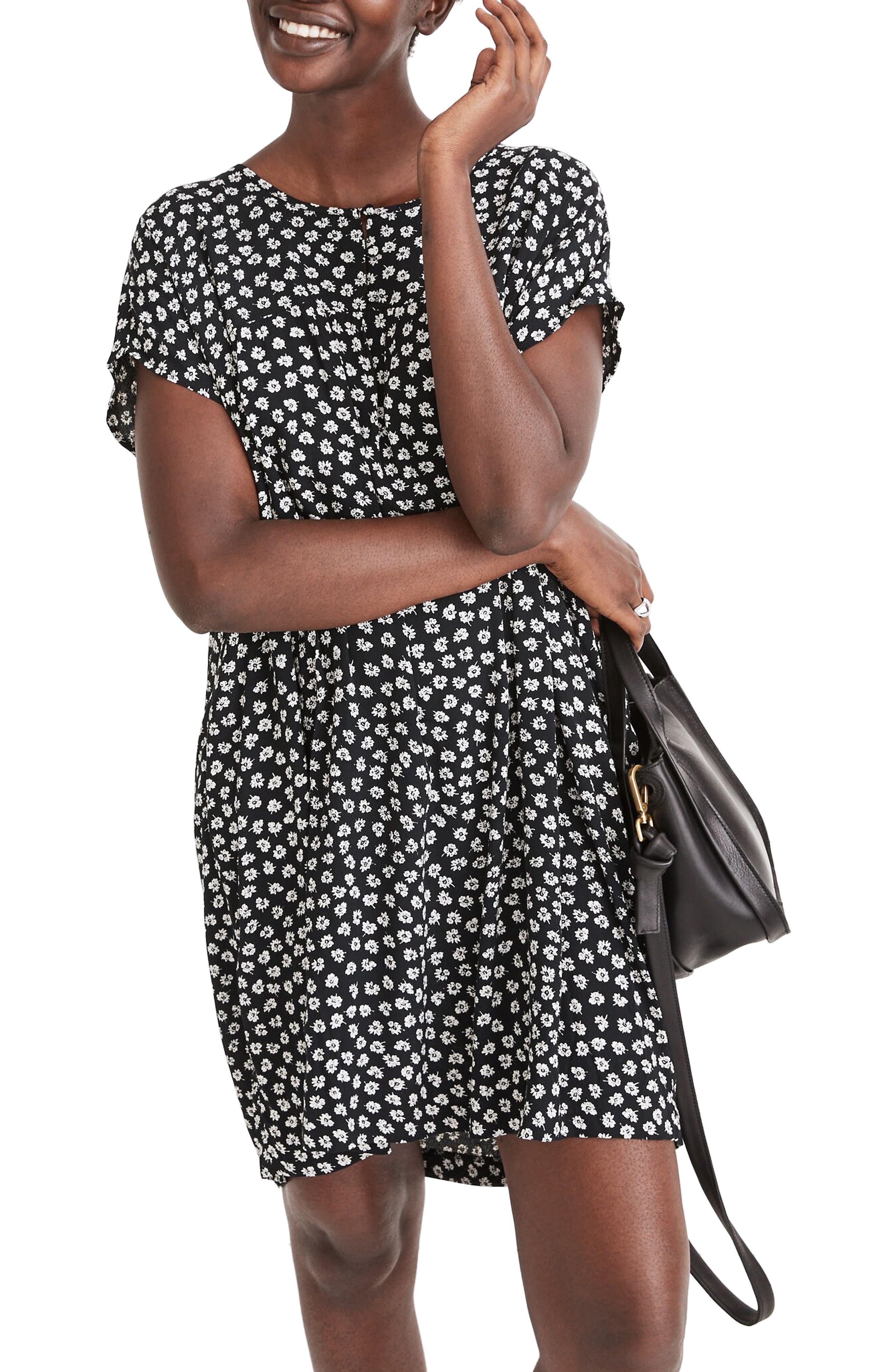Madewell Woodcut Flower Shirred Easy Dress | Nordstrom