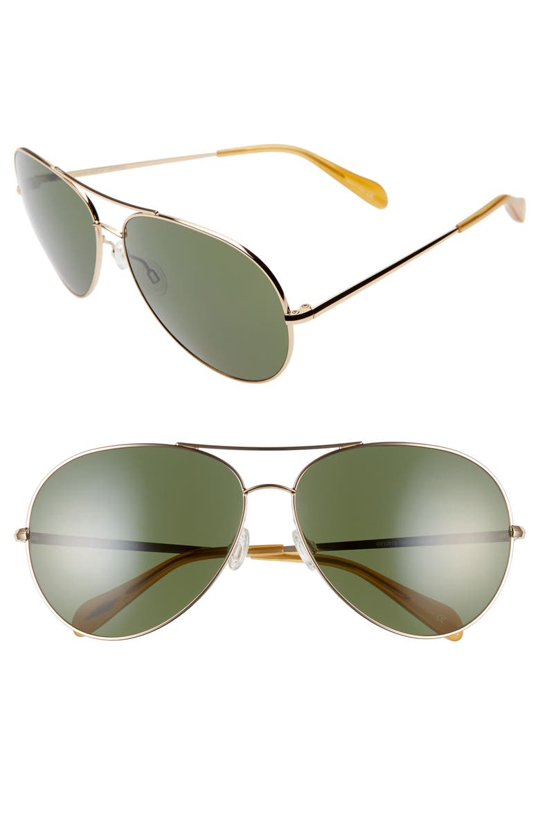 OLIVER PEOPLES Sayer 63mm Oversized Aviator Sunglasses, Main, color, 712