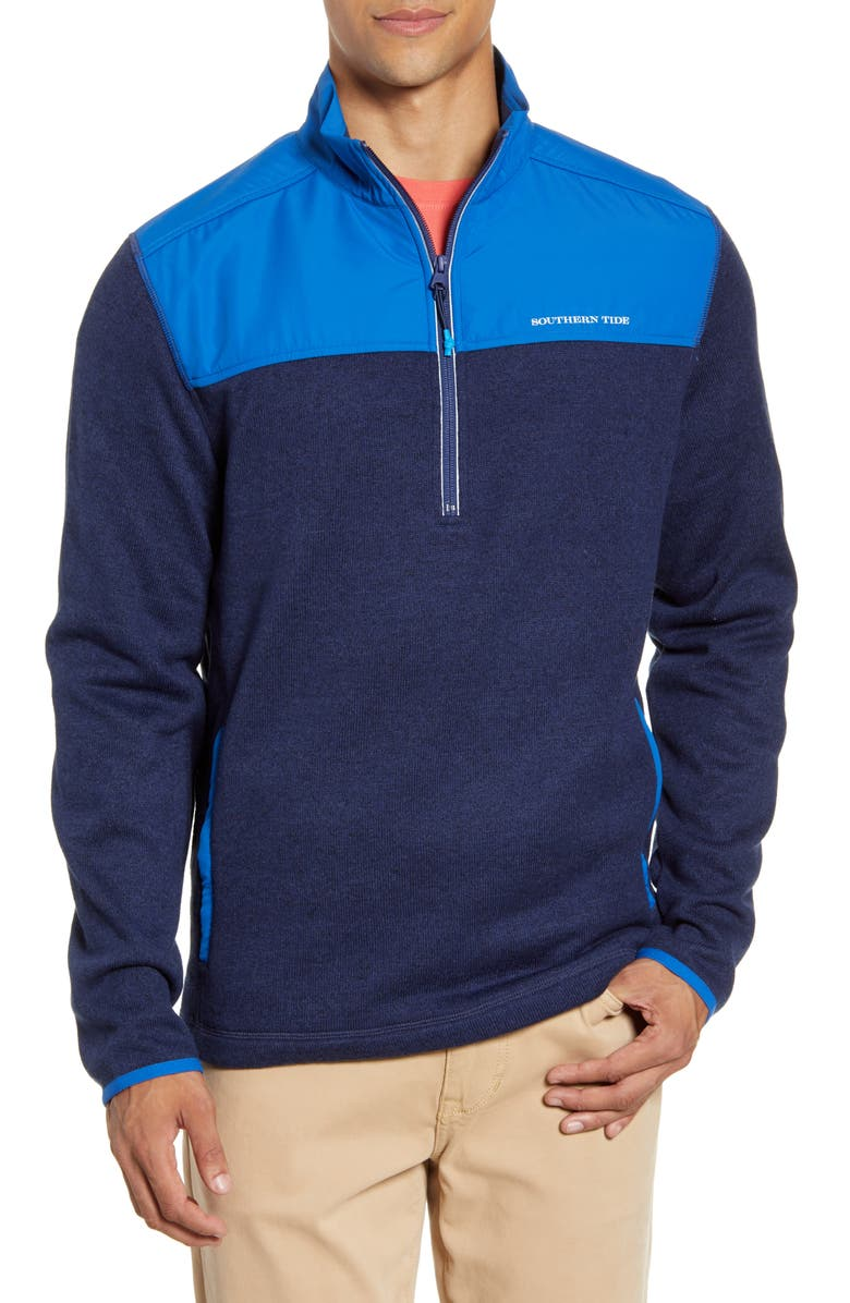 SOUTHERN TIDE Cottage Fleece Half Zip Pullover, Main, color, TRUE NAVY