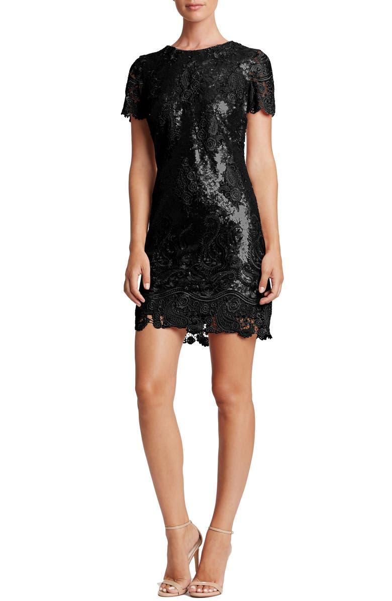 DRESS THE POPULATION Joy Sequin Lace Minidress, Main, color, 001