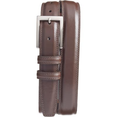 Torino Aniline Leather Belt, Brown