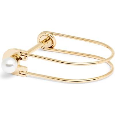 Knotty Imitation Pearl Lock Bangle