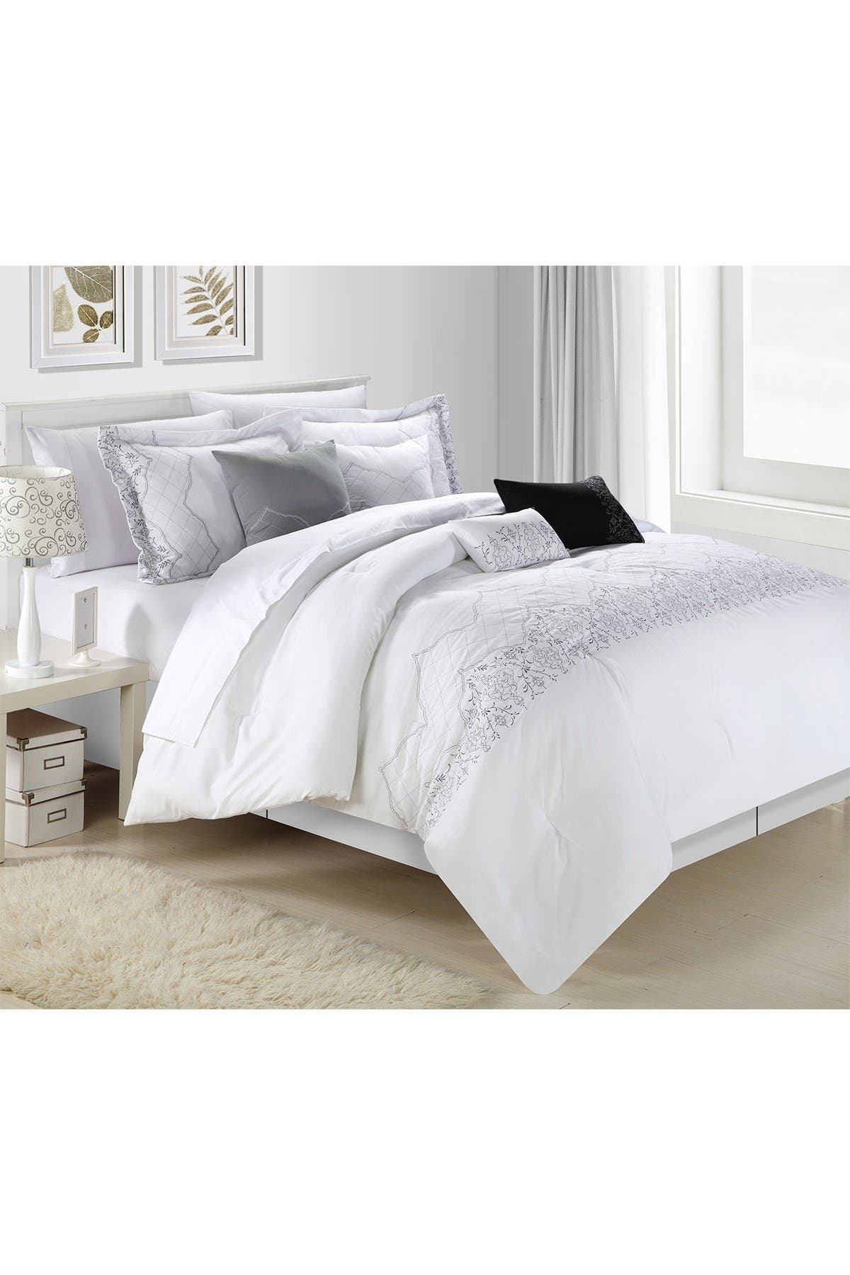 Image of Chic Home Bedding Queen Gracia Embroidered Bridal Collection Comforter 8-Piece Set - White