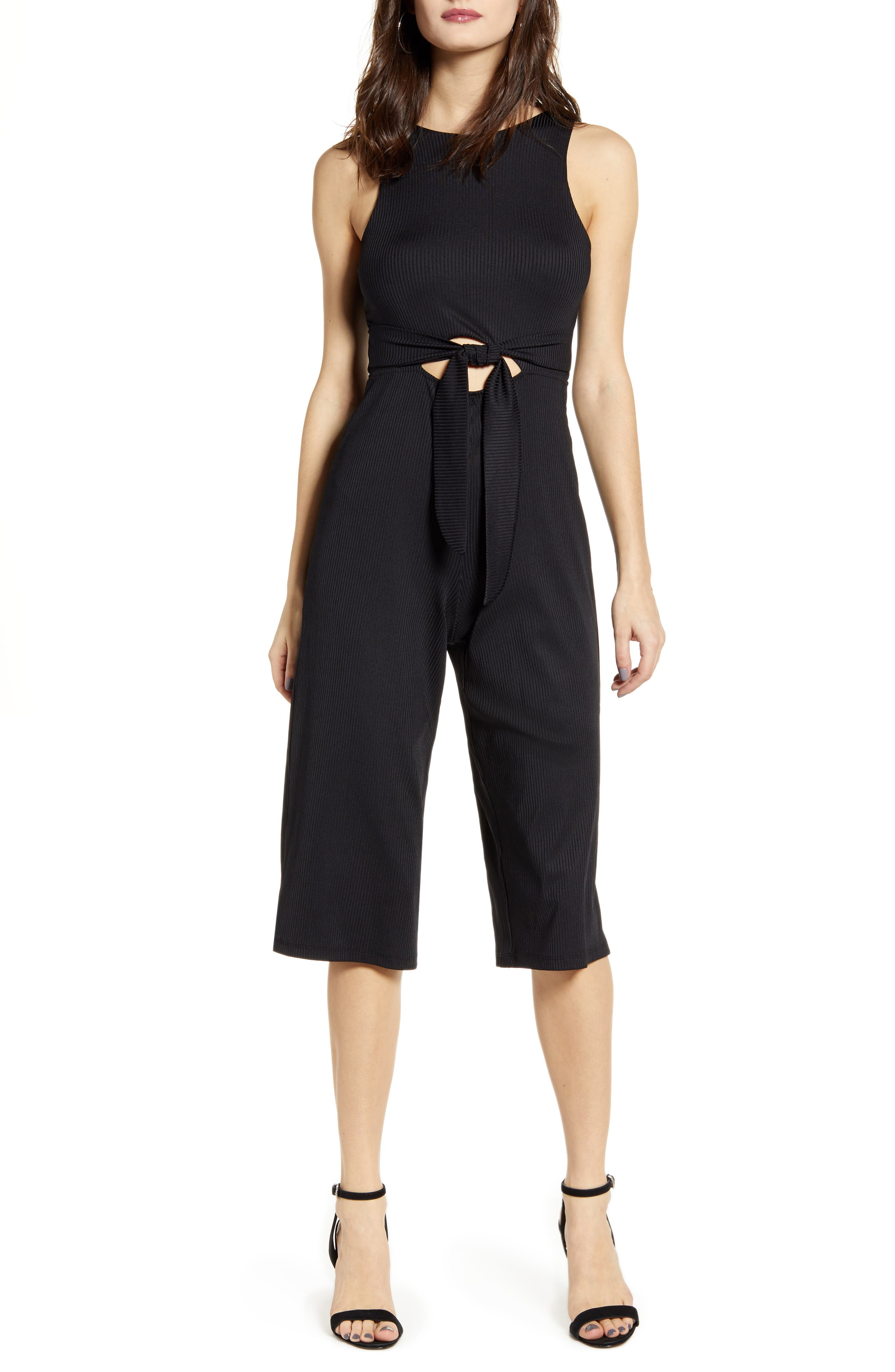 Leith Sleeveless Ribbed Cutout Jumpsuit, Black