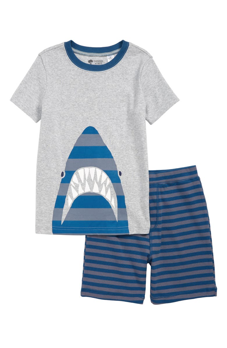 TUCKER + TATE Fitted Two-Piece Pajamas, Main, color, GREY ASH HEATHER SHARK