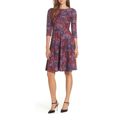 Leota Belted Print Jersey A-Line Dress, Purple