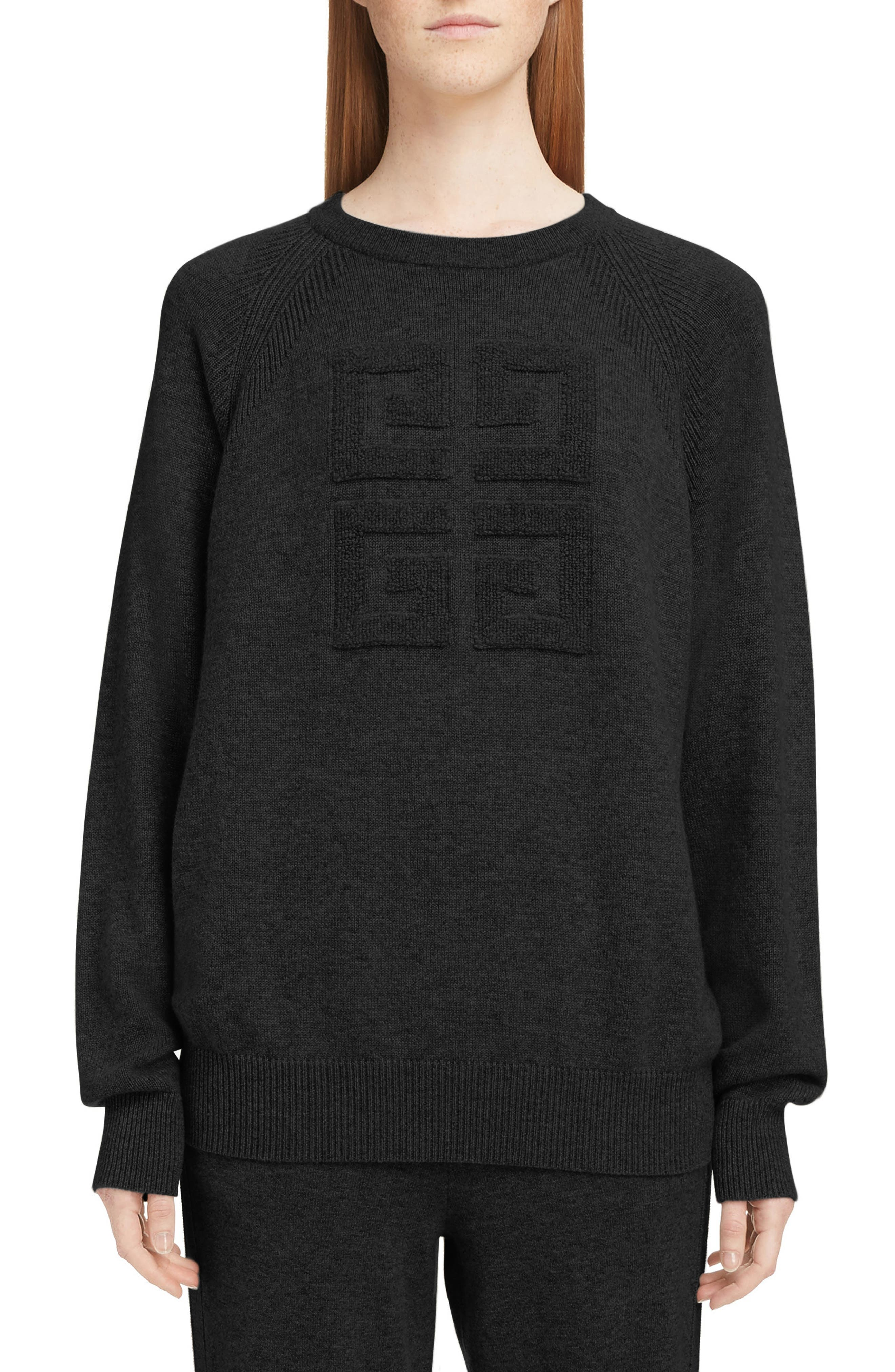 Embossed Logo Cashmere Sweater, Main, color, 001