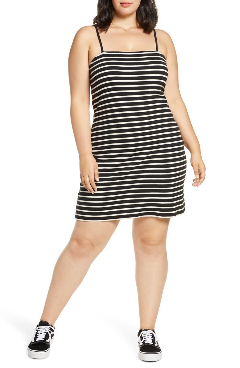 BP. '90s Stripe Sleeveless Minidress, Main, color, BLACK CHELSEA STRIPE