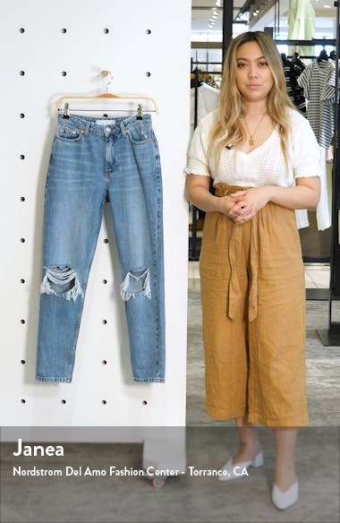High Waist Ripped Knee Jeans, sales video thumbnail
