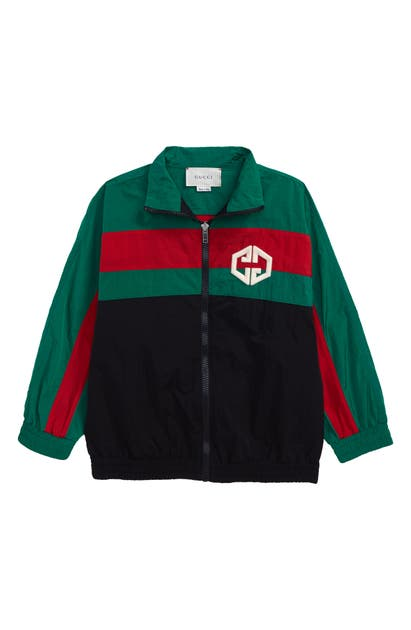 Gucci Kids' Boy's Colorblock Zip-front Embroidered Nylon Jacket In Black Mix