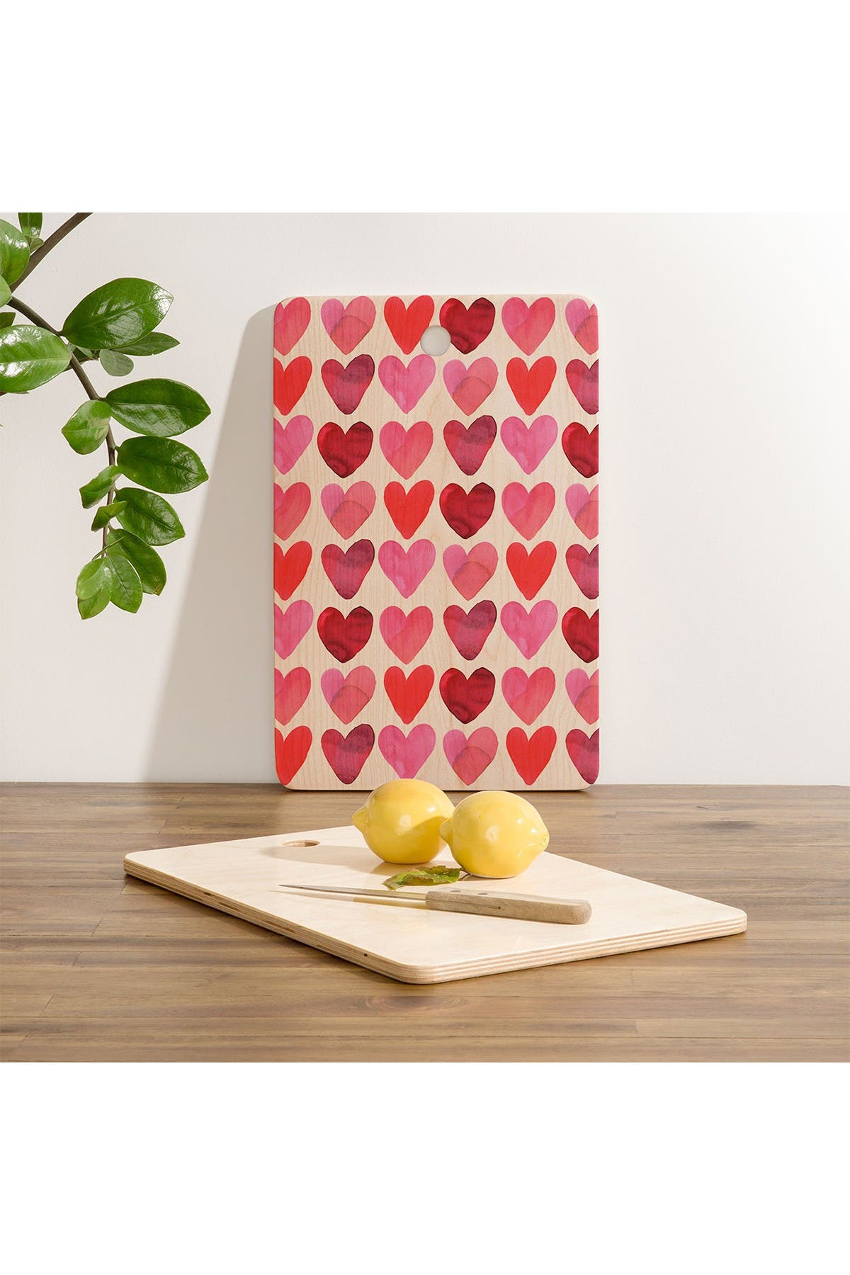 Image of Deny Designs Amy Sia Heart Watercolor Rectangle Cutting Board