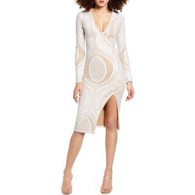 Sndys Sydney Side Slit Long Sleeve Cocktail Dress, White
