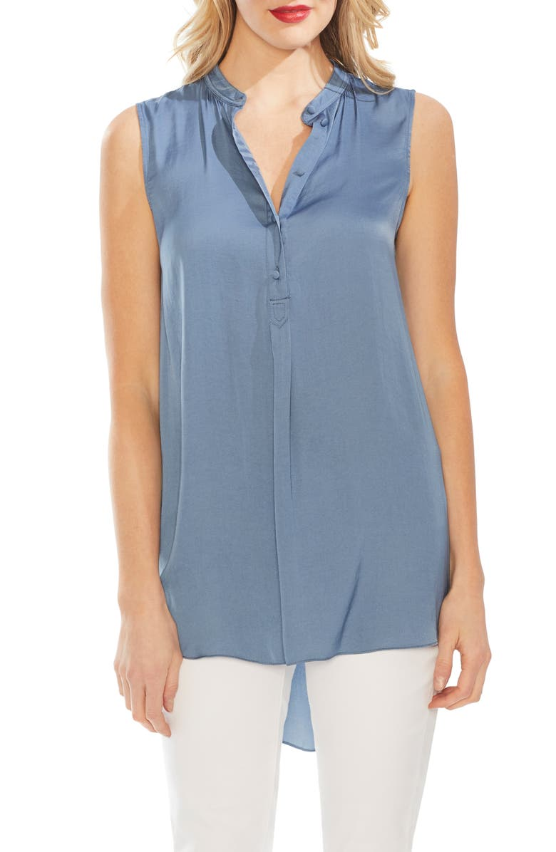 Sleeveless Rumple Henley Tunic by Vince Camuto
