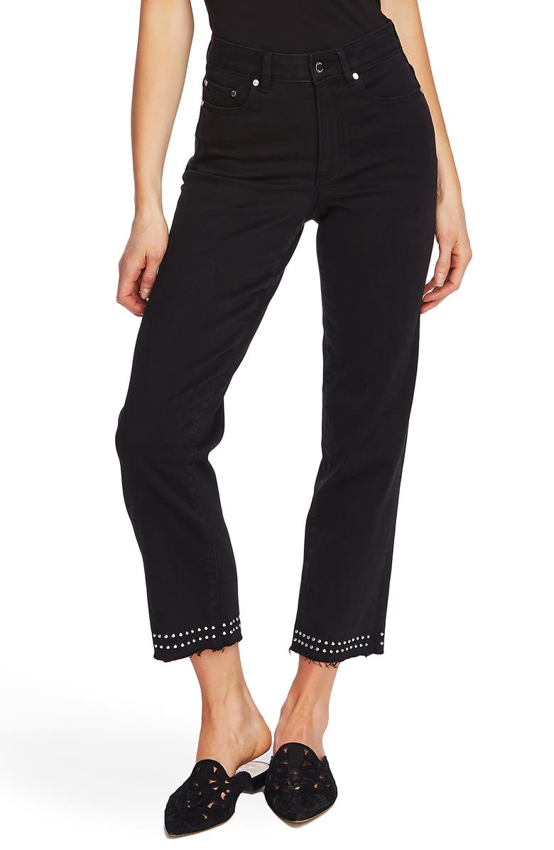 VINCE CAMUTO Stud Detail High Waist Crop Straight Leg Jeans, Main, color, JET BLACK