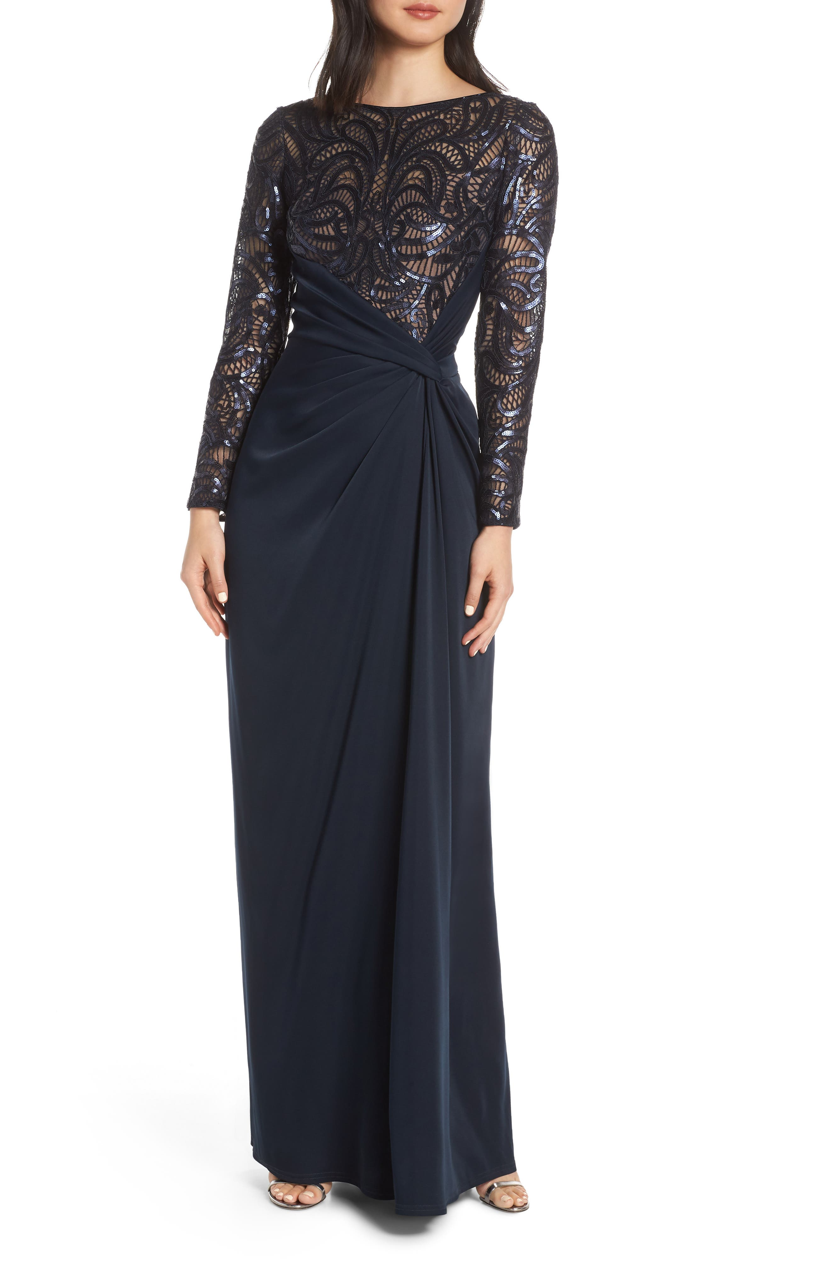 ,                             Sequin Lace & Jersey Evening Dress,                             Main thumbnail 1, color,                             NAVY/ NUDE