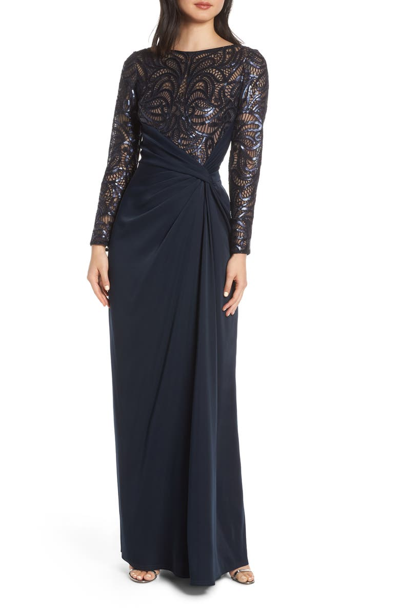TADASHI SHOJI Sequin Lace & Jersey Evening Dress, Main, color, 410